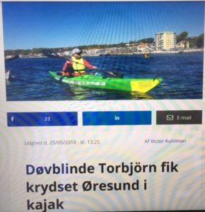 foto fra avia med Thorbjørn i kajak