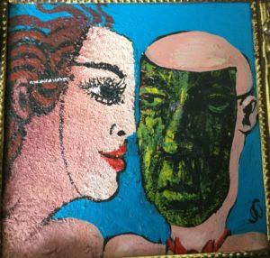 maleri af kvind eog mand med masker